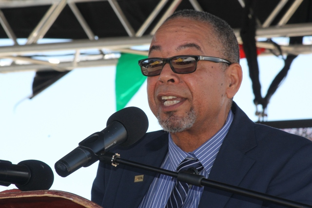 Mr. John King, Representative of IICA Delegations in the Eastern Caribbean States delivering remarks at the 23rd Annual Agriculture Open Day at the Villa Grounds on Nevis on March 30, 2017